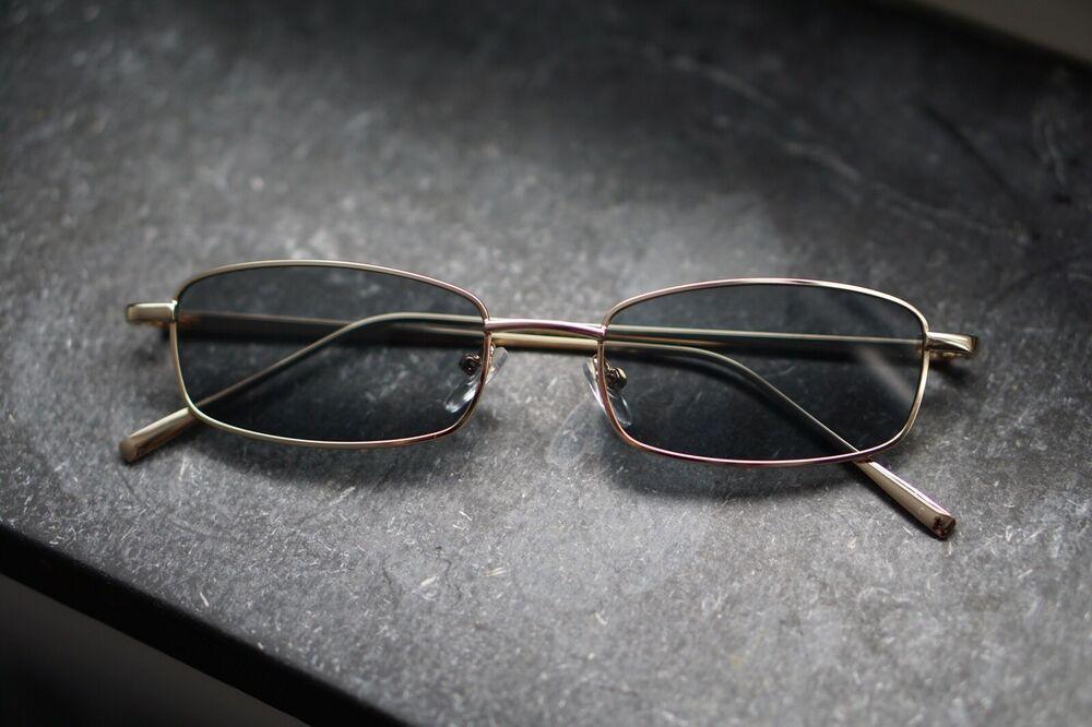 Vintage Eckige Herren Damen Sonnenbrille Schwarz John Lennon