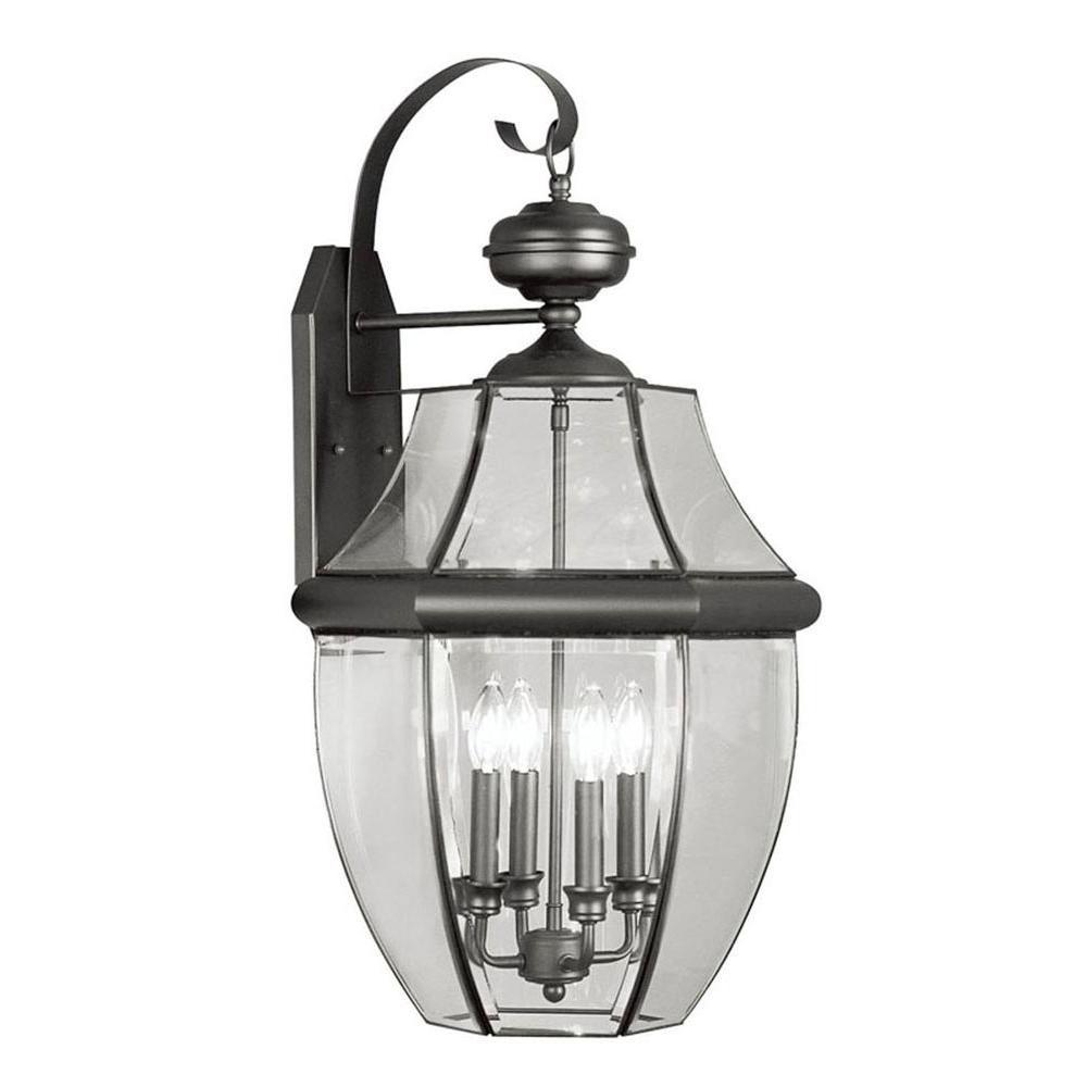 Wall-Mount 4-Light Outdoor Black Incandescent Lantern