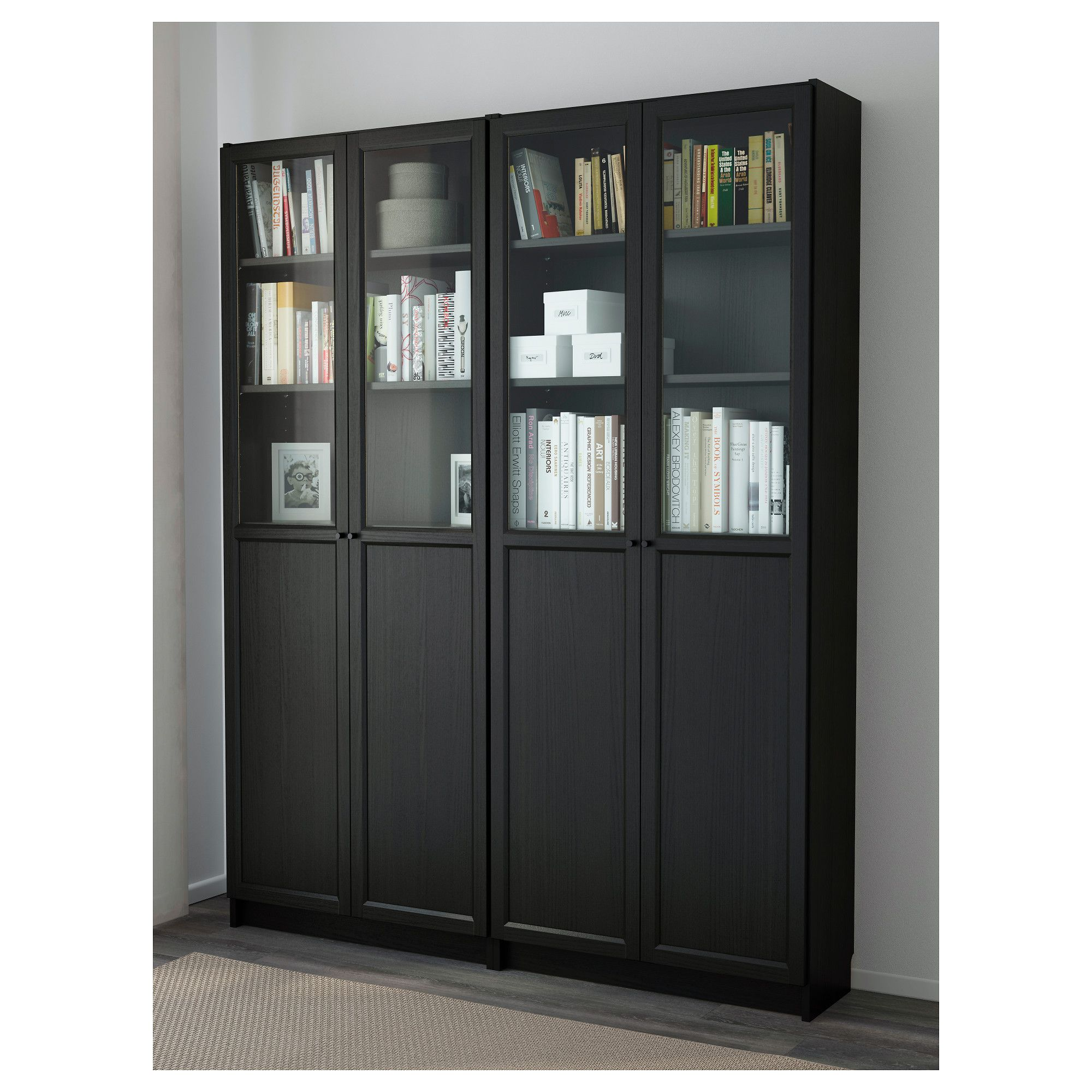 Ikea Billy Oxberg Bookcase Black Brown With Doors Door