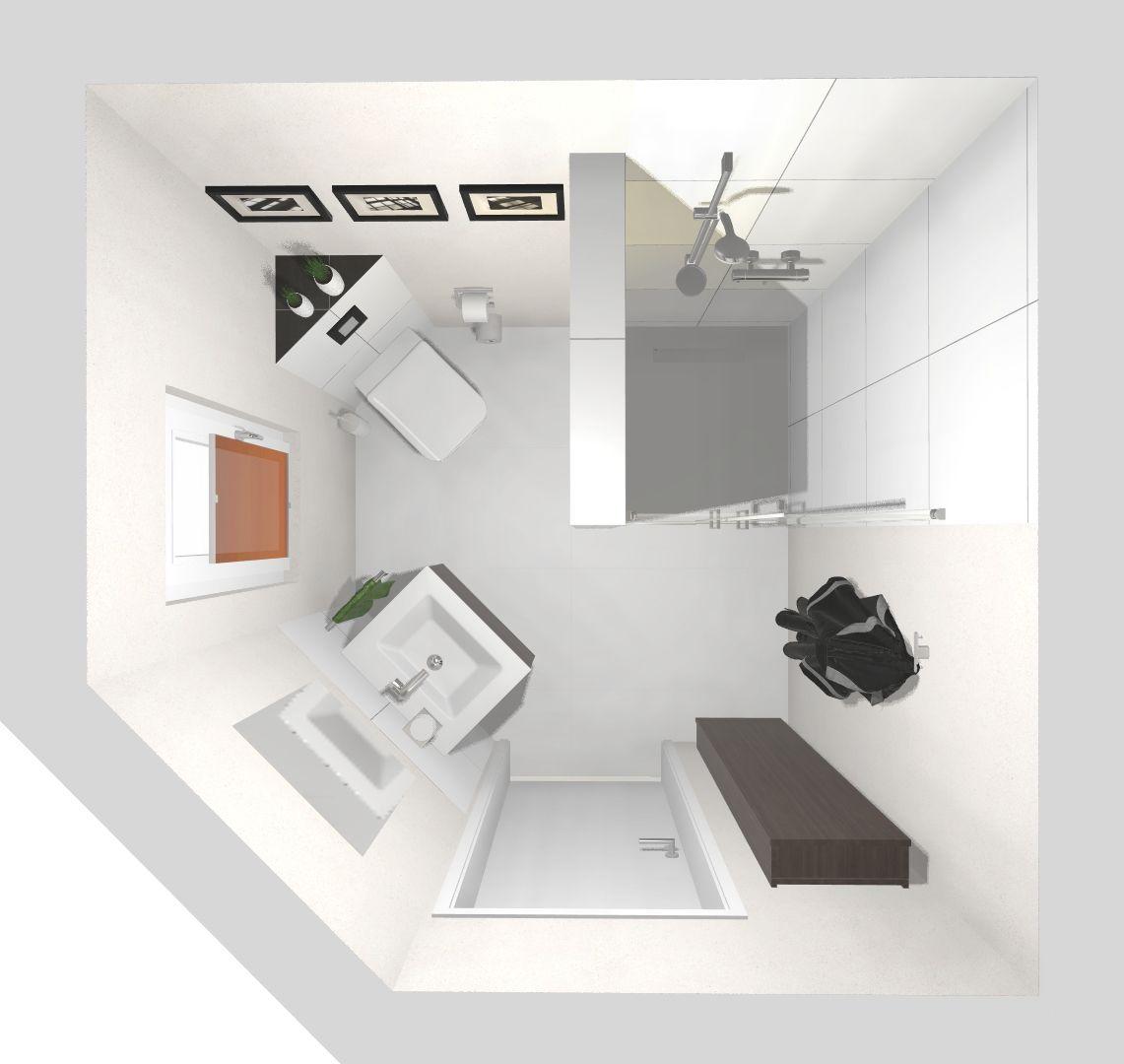 Das Asymmetrische Gastebad 3d Planung Vogelperspektive In 2020 Kleines Haus Badezimmer Gastebad Bad