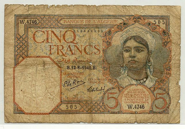 Algeria 5 Francs 1924-1941 - Algerian Currency Bank Notes, Paper Money, Banknotes, Banknote, Bank-Notes, Coins & Currency. Currency Collector. Pictures of Money, Photos of Bank Notes, Currency Images, Currencies of the World.