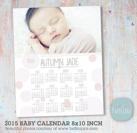 Baby 2015 Calendar Photoshop Template 8x10 By Paperlarkdesigns