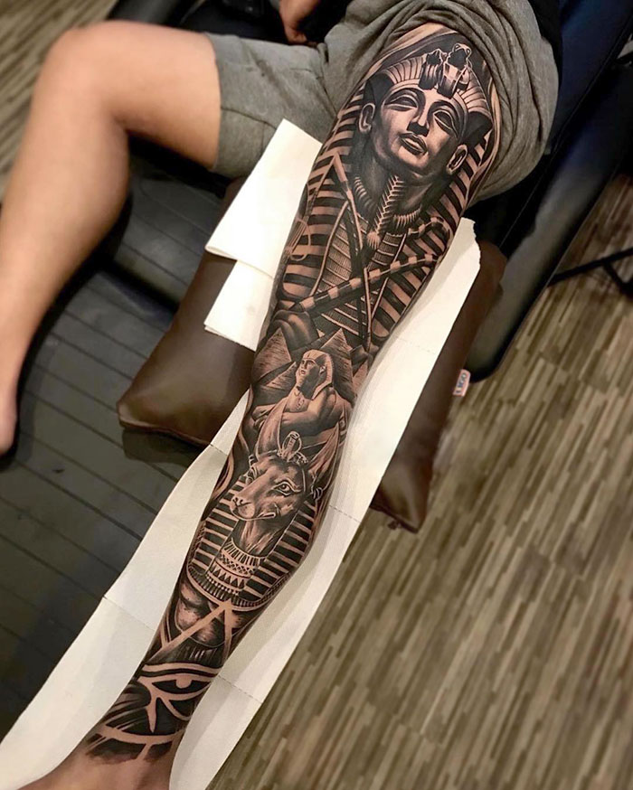 45 Of The Most Epic Leg Tattoos Egyptian tattoo sleeve