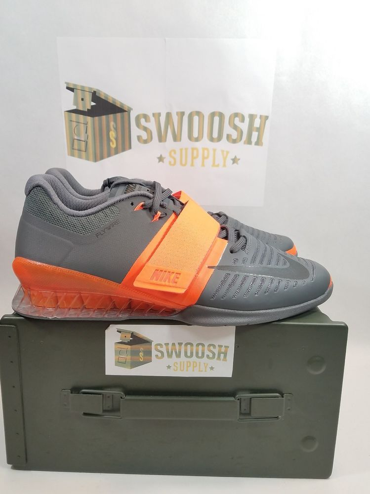 the best attitude 87024 f135a NIKE ROMALEOS 3 WEIGHTLIFTING GREY ORANGE SIZE MEN S 10 852932 800  Nike   Weightlifting