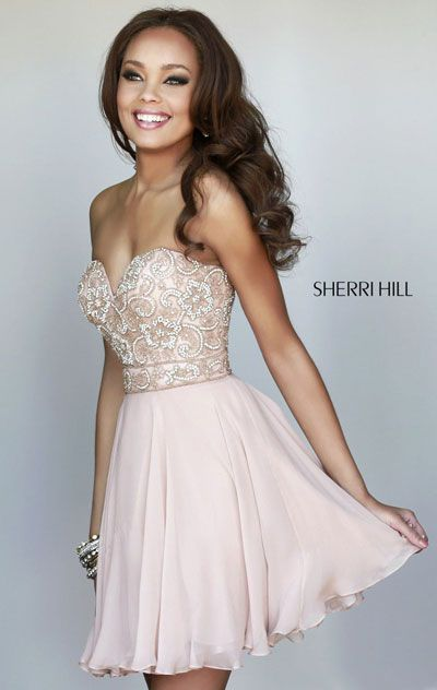 Sherri Hill 8548 Beaded Sweetheart Strapless Nude Chiffon Prom ...