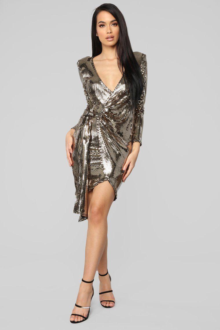 Disco Hour Sequin Dress Gold Dresses, Gold dress