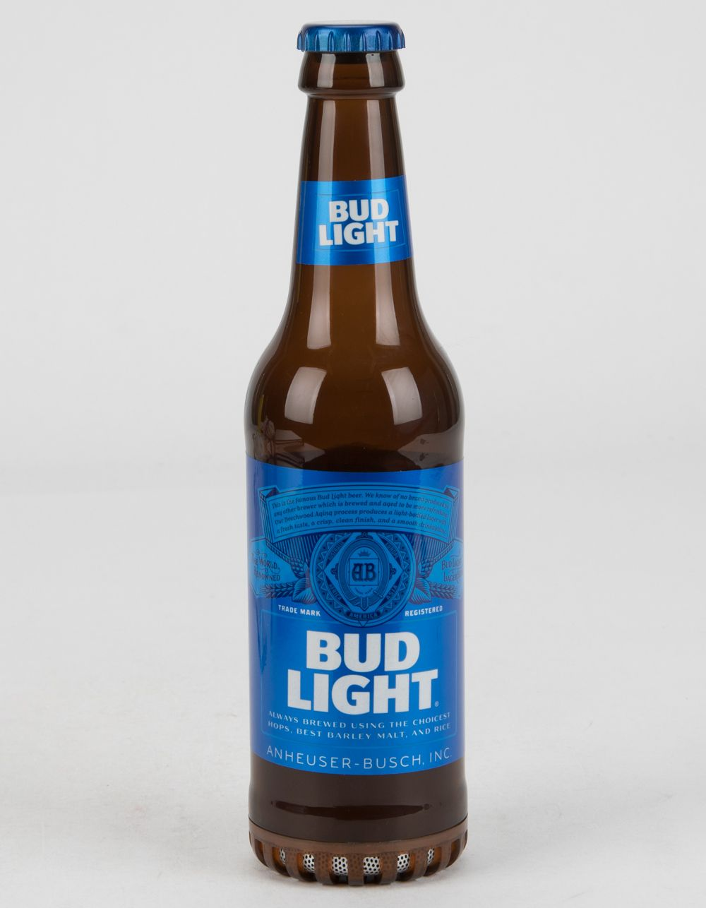 Bud Light Bottle Bluetooth Speaker. Bluetooth speaker for smartphones, tablets, and MP3 players. Actual weight & height of a real Bud Light beer bottle. Bluetooth wireless connection up to 30 ft. Dimensions: 10.5