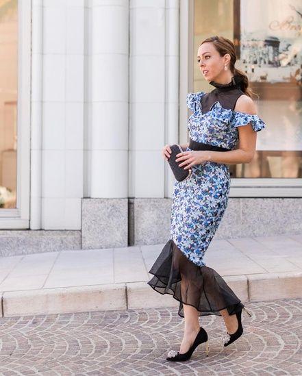 3e7cf3890f20 Blue floral midi dress for wedding guest attire  ShopStyle  MyShopStyle   dresses