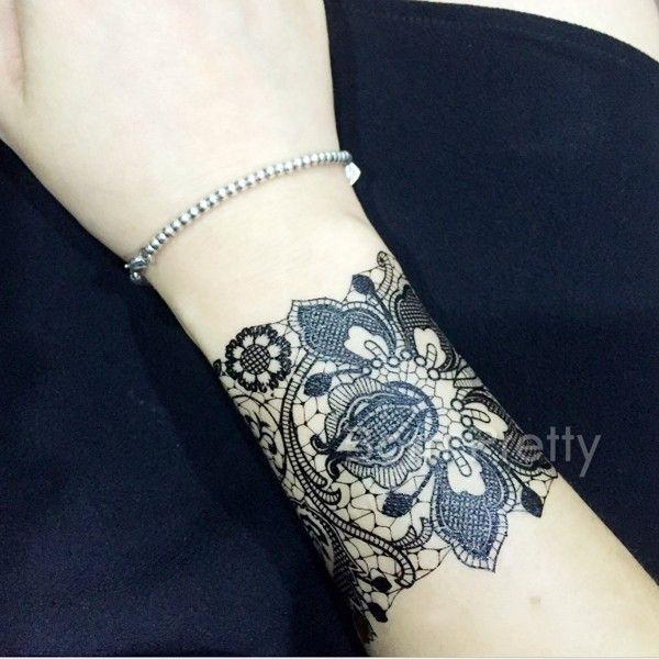 6 Sheets Wrist Body Art Henna Tattoo Stencil Flower: Random Delivery 1 Sheet Temporary Black Lace Henna Tattoo