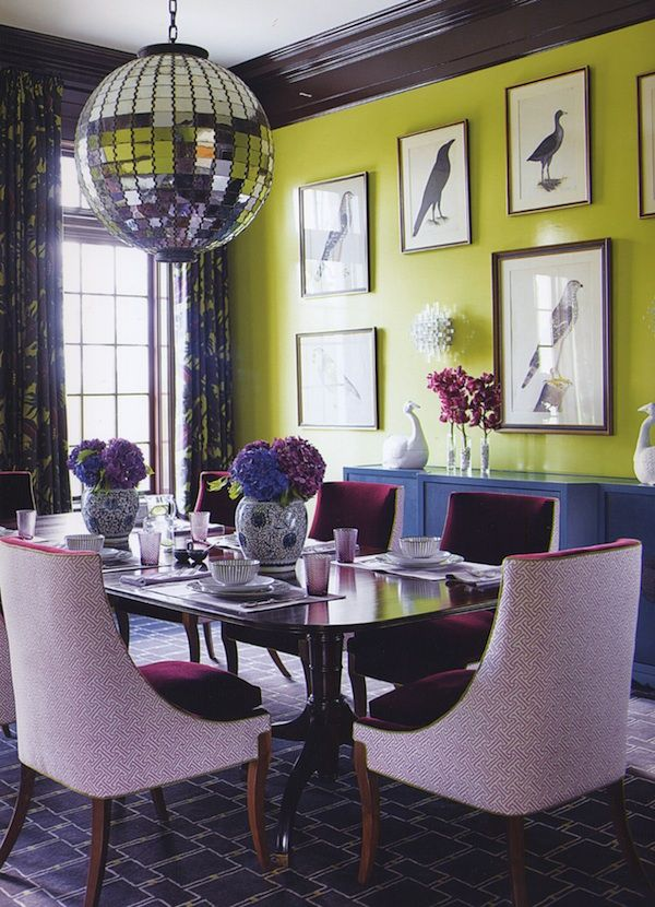 love chartreuse walls and chocolate brown trim
