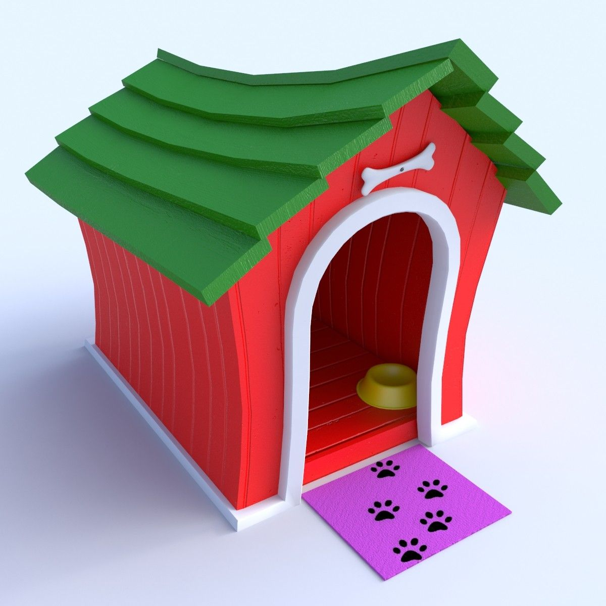 Cartoon Doghouse 3d Model 3d Model Dog Houses 3d Model Cartoon
