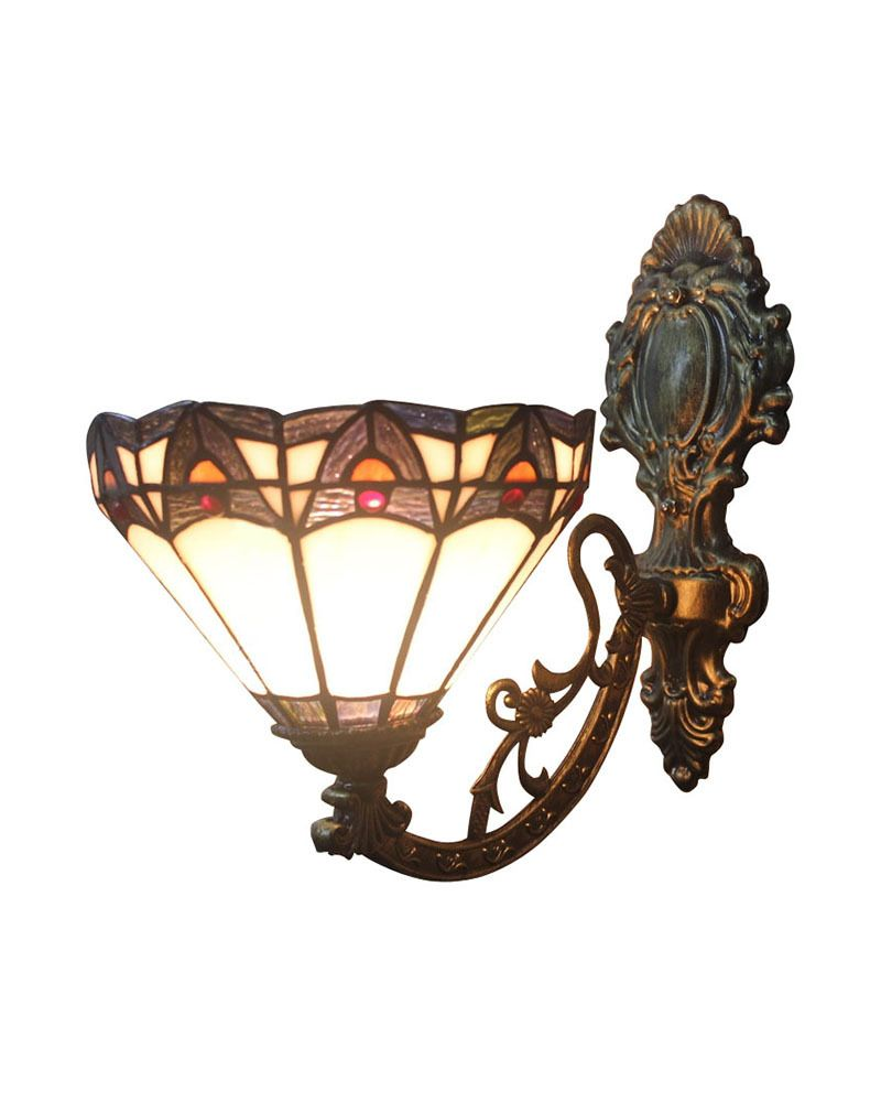 Ems Free Ship Wall Lamps Tiffany Style No 8s10002 Blue Upward Wall Sconces Stained Glass Meditteranean With 1 L Wall Sconces Sconces Indoor Cheap Stained Glass