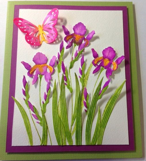 Frantic Stamper Precision Die - Mix N Match - Irises.  Card created by Sylvia Favell