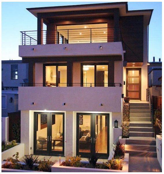 Fachadas de casas de dos niveles peque as modernas y - Disenos de cocinas pequenas y sencillas ...