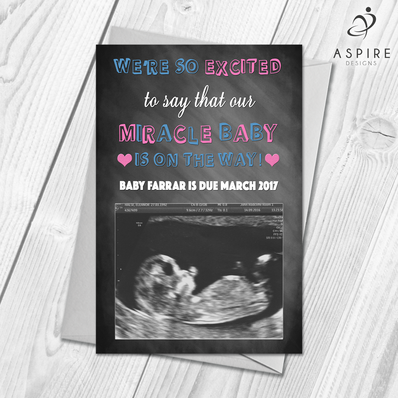 Envelope Personalised Scan Pregnancy Announcement Card Baby Announcement
