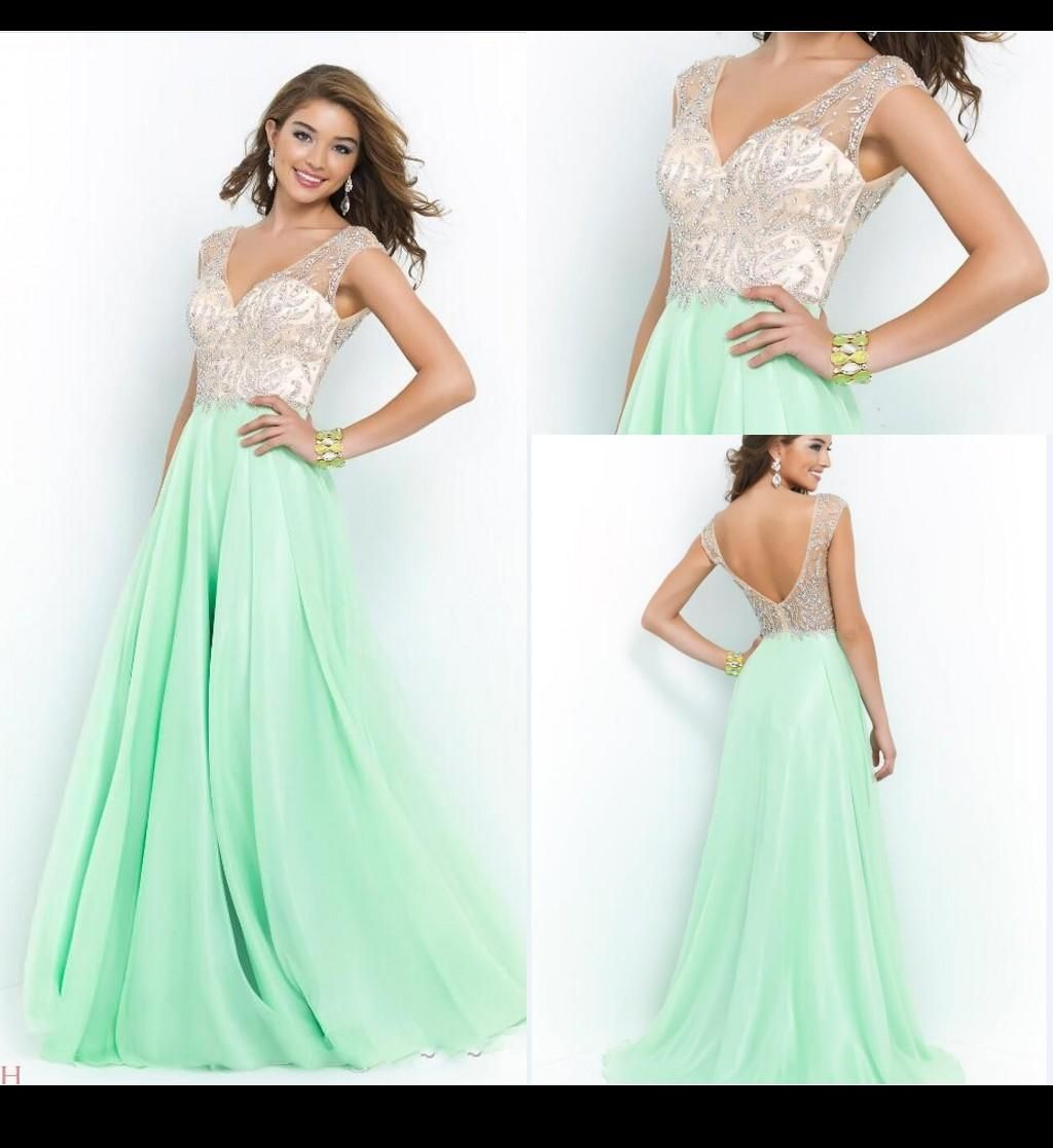 Blush sexy long prom dresses a line v neck beads crystals cap