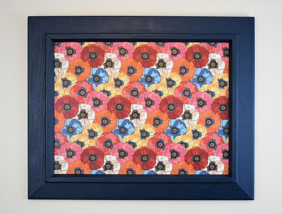 81aabf34b19c8 Blue Framed Magnet Board with Floral Background - Magnetic Bulletin ...