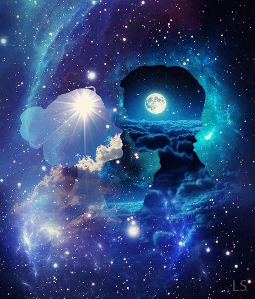 love art couple kawaii weird galaxy nebula stars kiss artist blue ...