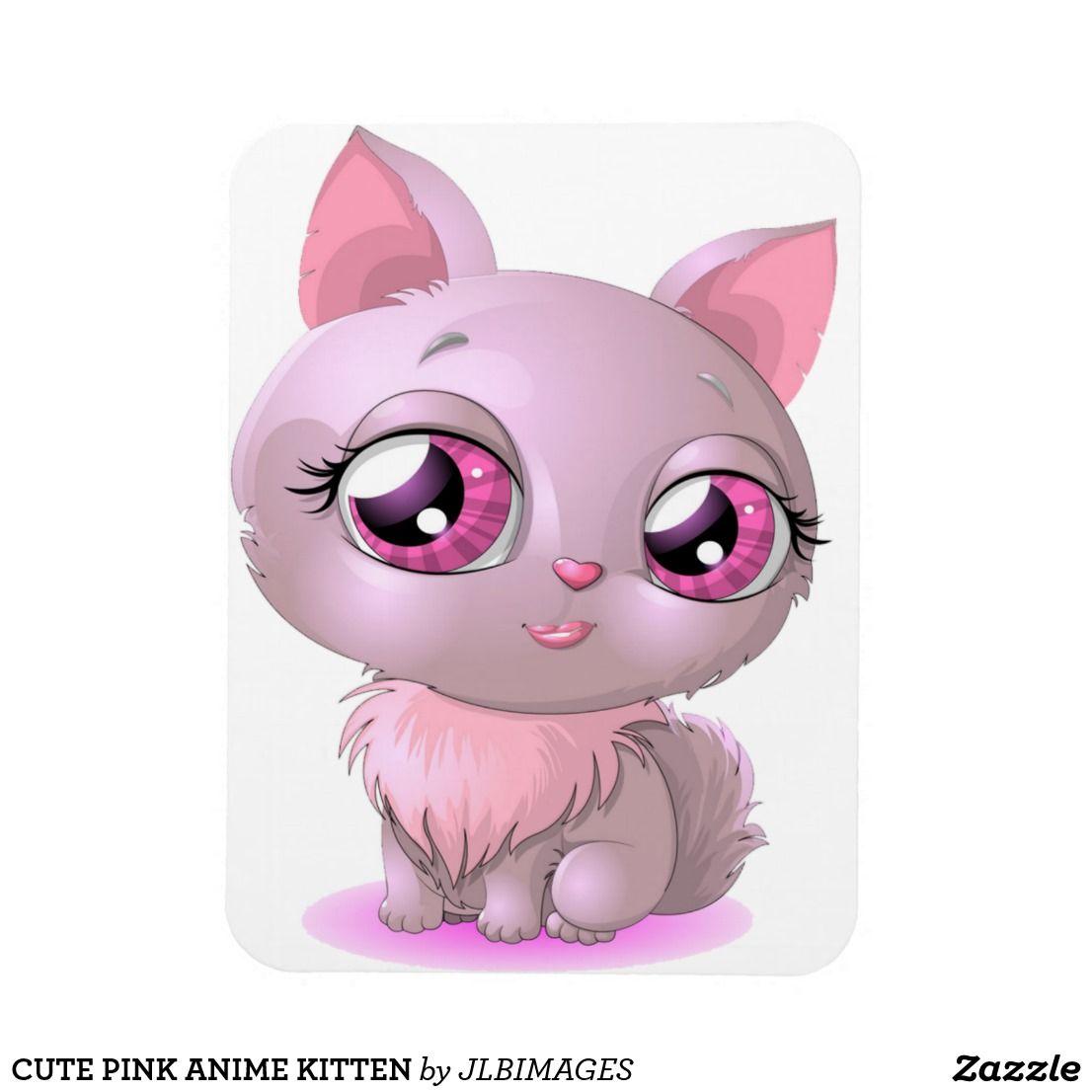 Cute Pink Anime Kitten Magnet Zazzle Com Anime Kitten Kitten