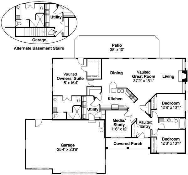 Floor Plan Image Of Northrup House Plan One Level House Plans Floor Plans Cottage House Plans