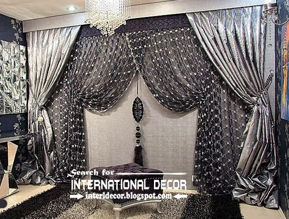 silver design | luxury black and silver curtain design for living