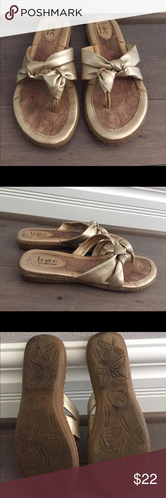 b5e98c9f5640 BOC Born Concept Flip Flops Sandals Gold Floral BØC Born Concept Floral  Flip Flop Sandals Size  7 M Excellent Condition Please see pictures for  details boc ...