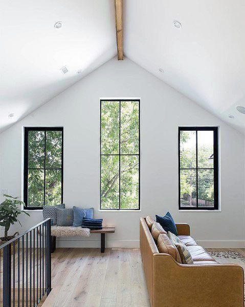Center Single Wood Beam Vaulted Ceiling Ideas Inspiration #ModernHomeDecorInteriorDesign #vaultedceilingdecor