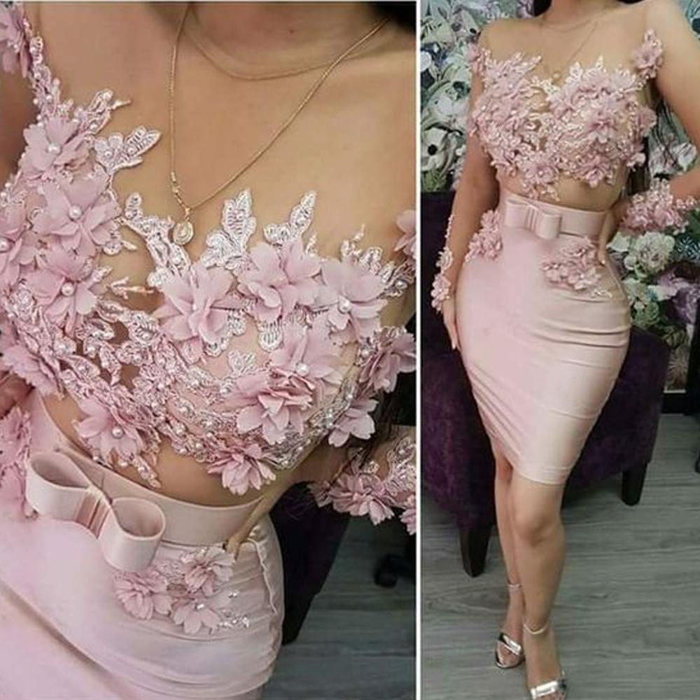 pink evening dresses short 18 lace appliqué beaded handmade ...