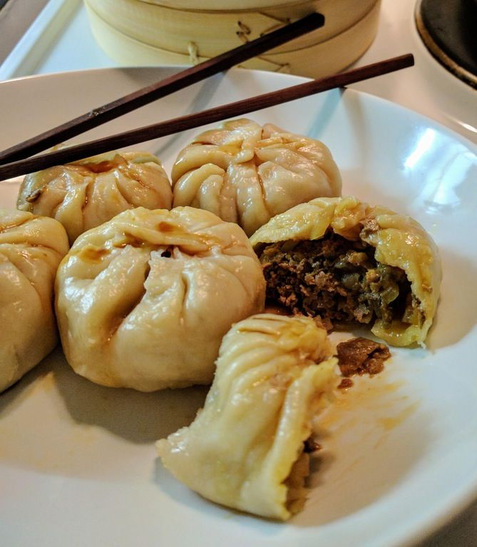 Steamed dumplings with Porcini And Beef filling.