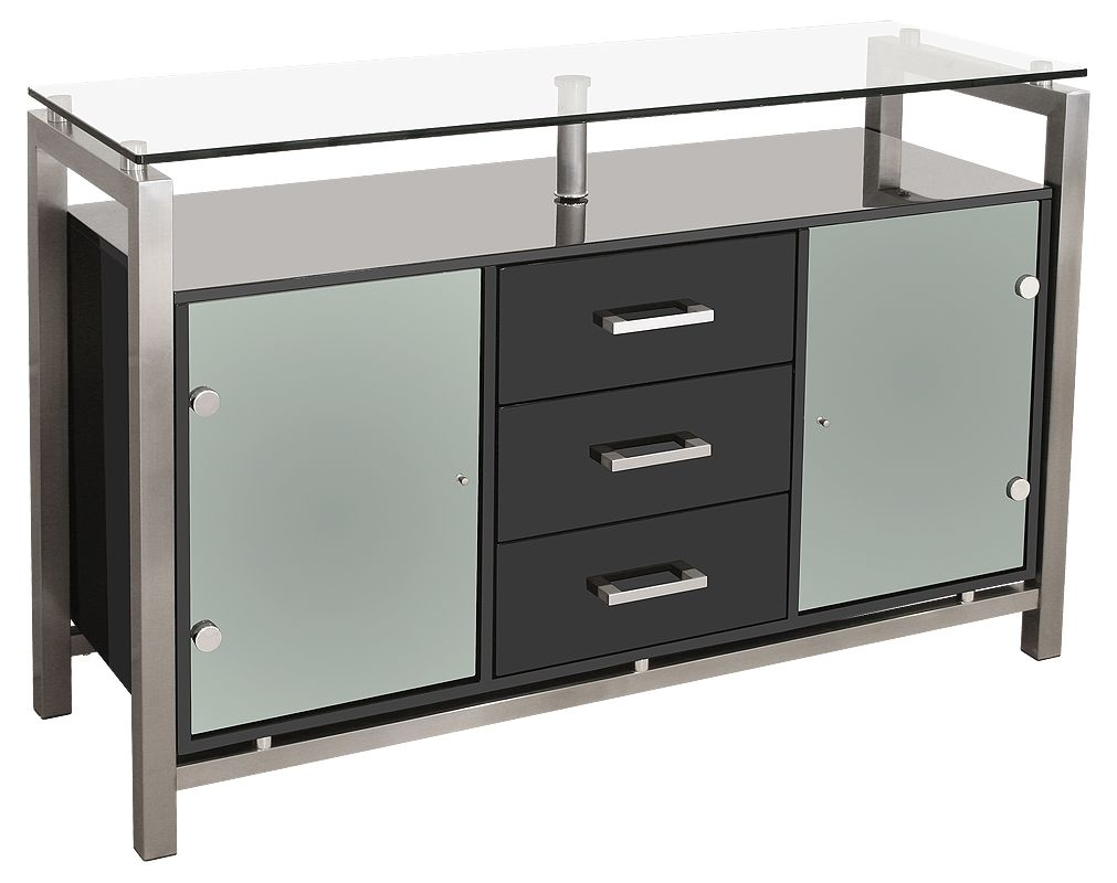 Dressers & Sideboards : Black Gloss Glass Top Sideboard Display ...