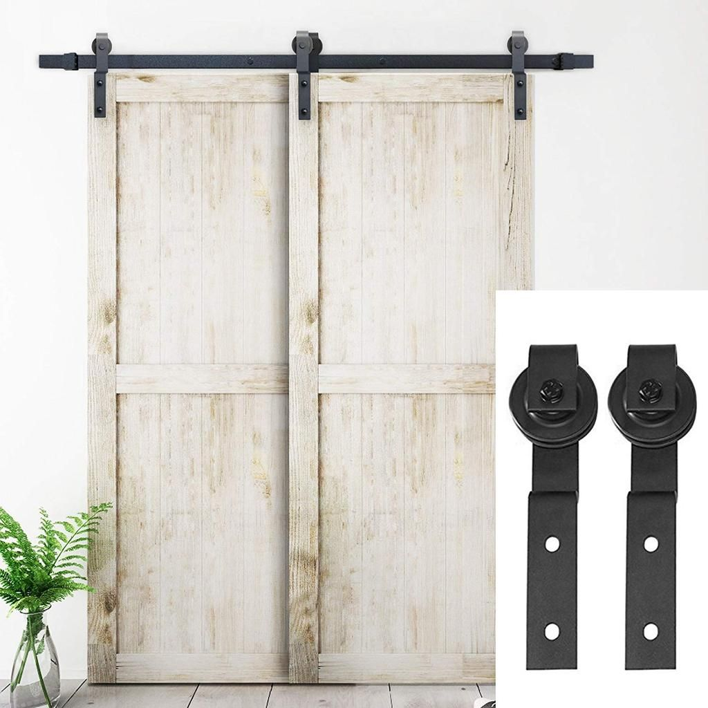 6 6 Ft Single Track Bypass Double Barn Door Hardware Black One Piece Rail Bypass Barn Door Hardware Sliding Barn Door Hardware Barn Door Hardware
