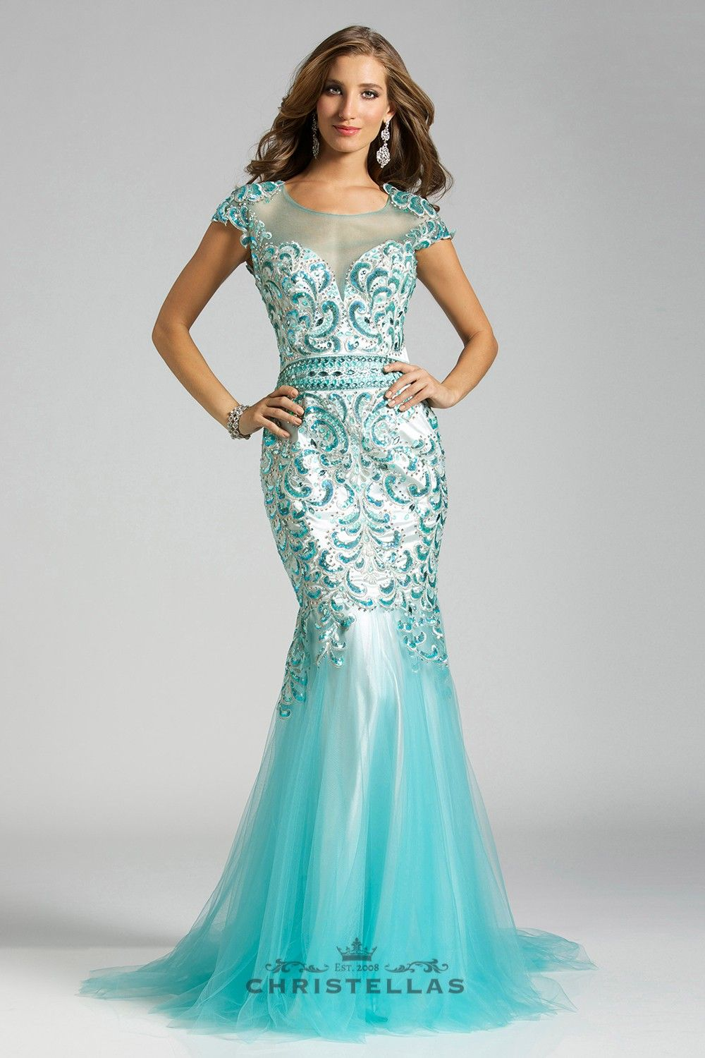 Gorgeous tulle and a swirling bead pattern gives makes this dress ...