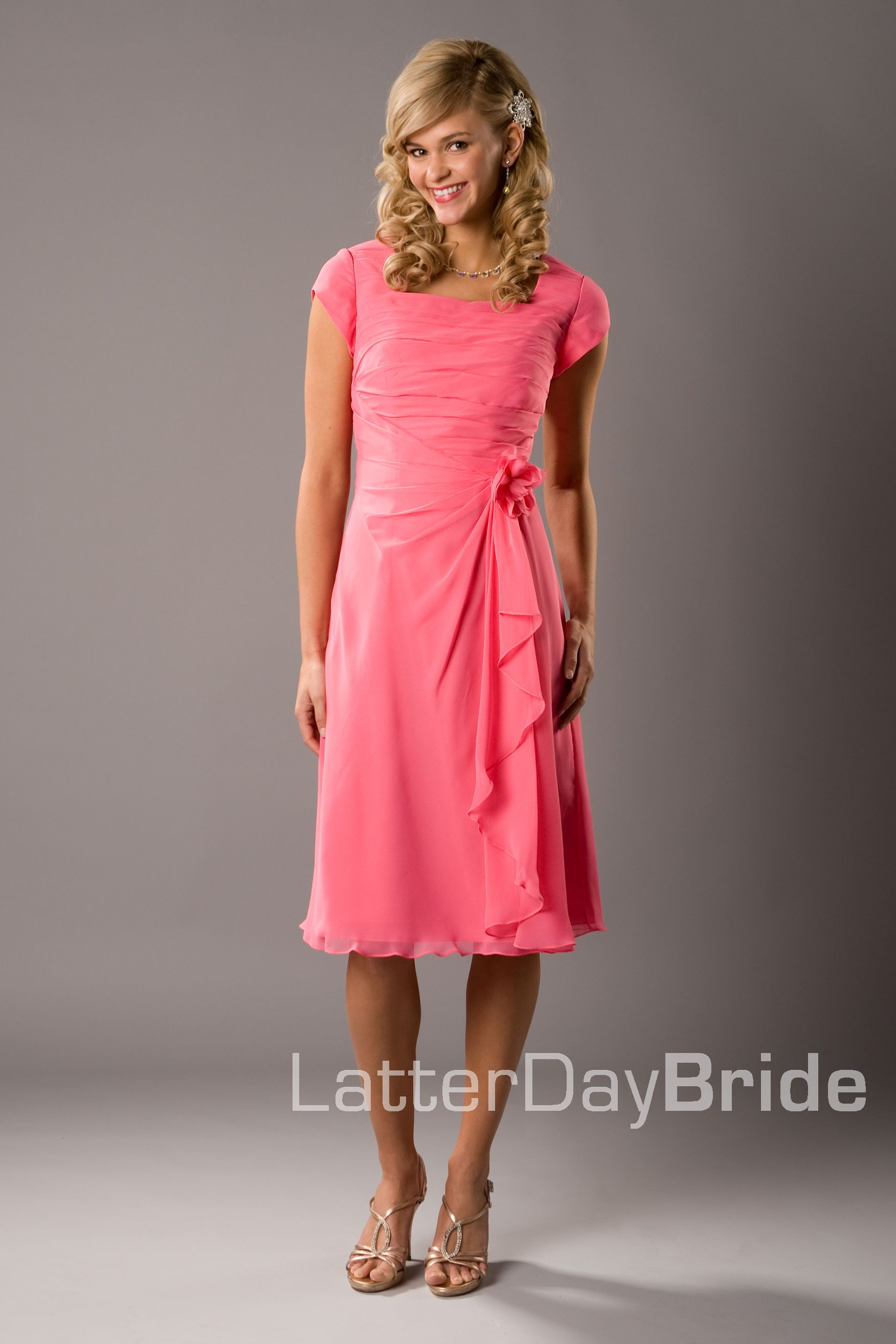 Modest Bridesmaid Dress | LatterDayBride | Coral | Modest ...