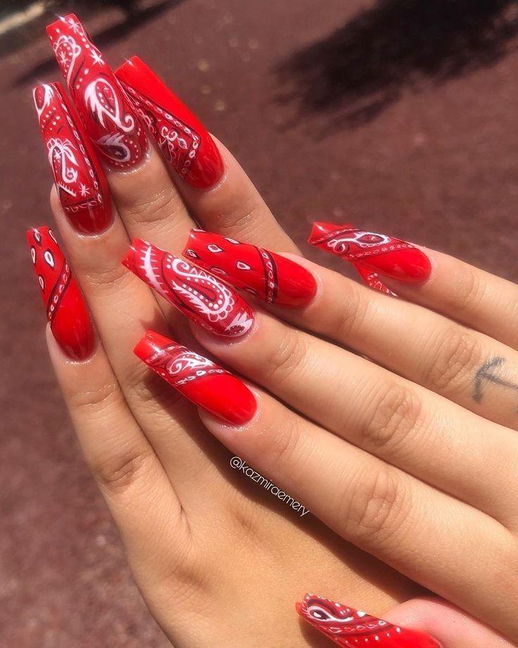 Hot Nail Art Designs To Copy Bandana Nails Coffin Nails Designs Red Acrylic Nails