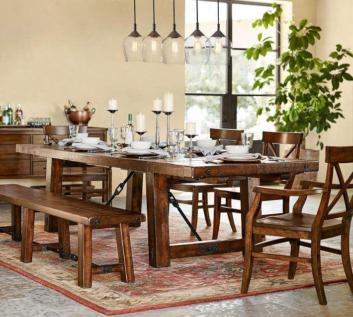 Benchwright Extending Dining Table Rustic Mahogany In 2019