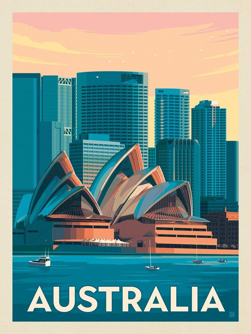Australia Sydney Skyline Anderson Design Group In 2020 Retro Travel Poster Vintage Poster Design Travel Posters