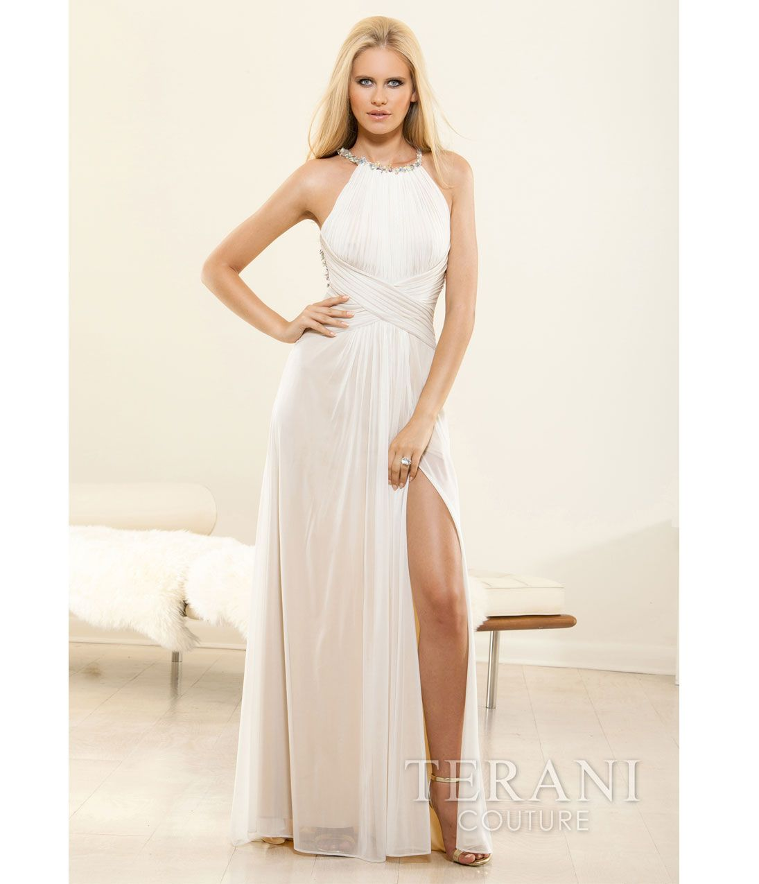 Terani 2014 Prom Dresses - Ivory & Nude Grecian Halter Prom Gown ...