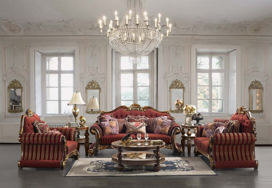 Luxury Upholstered Formal Living Room Furniture Traditional Sofa, Love Seat  Homey Design HD 257