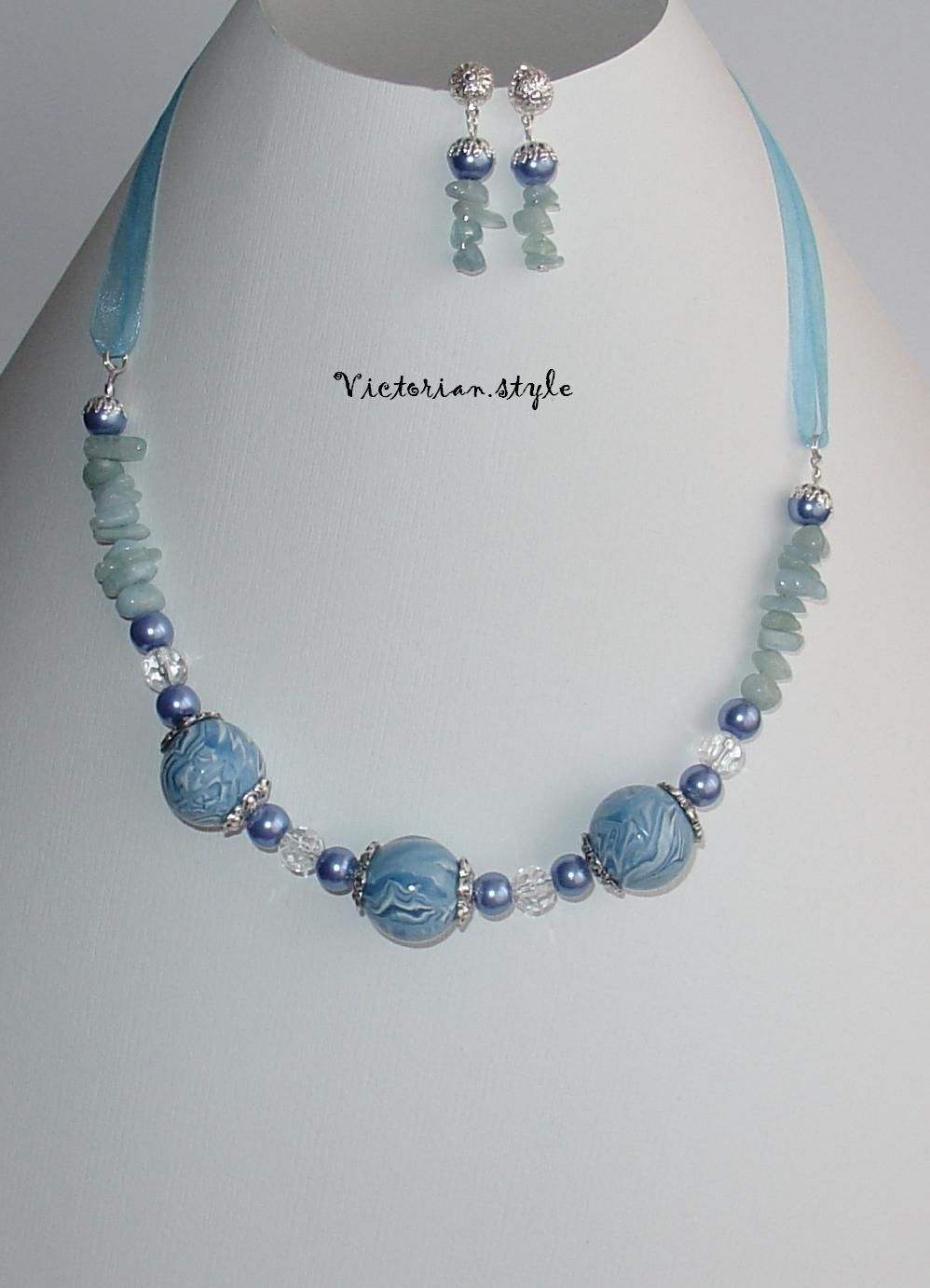 amazonit, glass, pearls and polymer clay beads set (necklace and earrings)