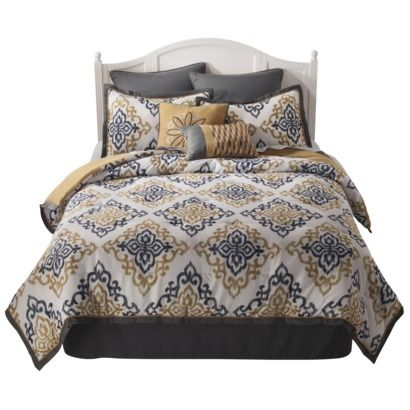 Love the colors & pattern! (Ikat Mandalay 8 Piece Bedding ...