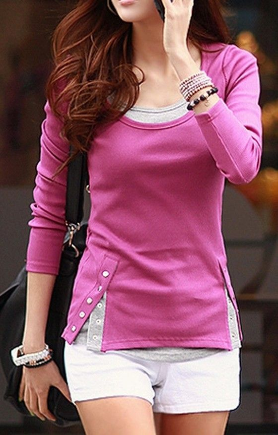 Rose-Carmine Patchwork False 2-in-1 Buttons Casual T-Shirt