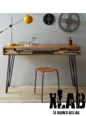 Tavolo Scrivania In Legno.Tavolo Scrivania Legno E Ferro Vintage Style Xlab Designer