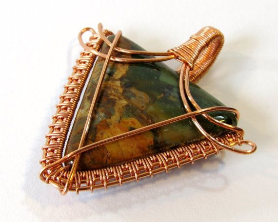 Wire Wrapped Pendant with Triangular Green Opal by BellaDivaBeads