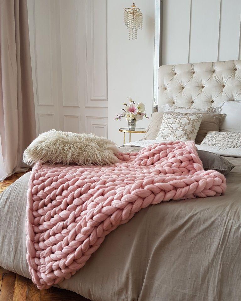Blush Pink Throw Blanket Blush Pink Chunky Knit Blanket 80X120Cm 185$  Wants  Pinterest