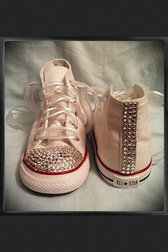 So cute for KAYLA! White high top bling chuck Taylor converse by ... b0175d84a