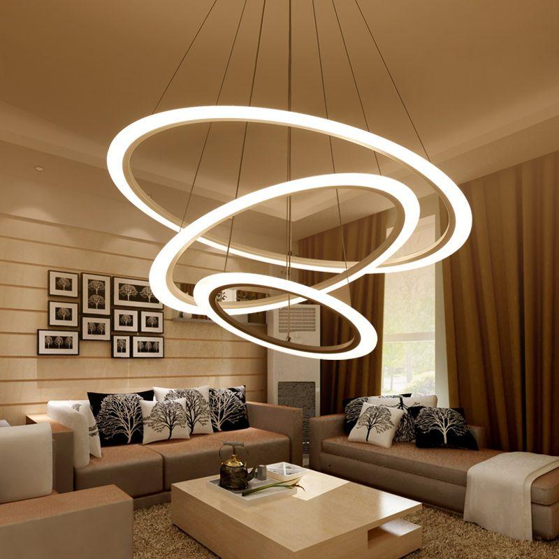 Günstige Moderne Kronleuchter LED Kreis Verstellbaren Ring Kronleuchter  Licht Für Wohnzimmer Peeling Plexiglas Lustre Kronleuchter Beleuchtung