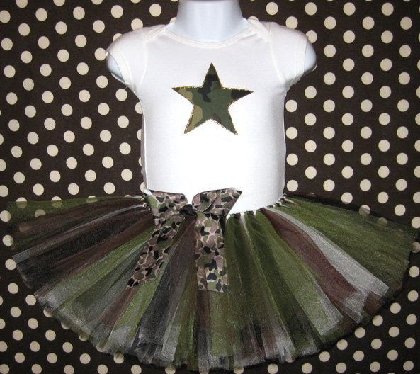 a5d4f252d32b2 Army Brat Star Tutu and Onesie...Camo Star Onesie and Camo Tutu with  Matching Headband...Infant, Baby Girl, Toddler. $35.00, via Etsy.