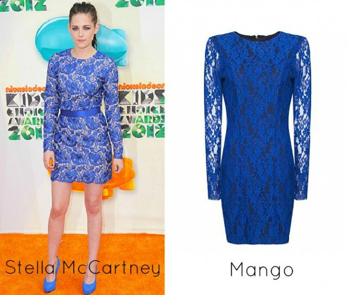 Tono Azul Rey Corto Y De Manga Larga Lace Dress