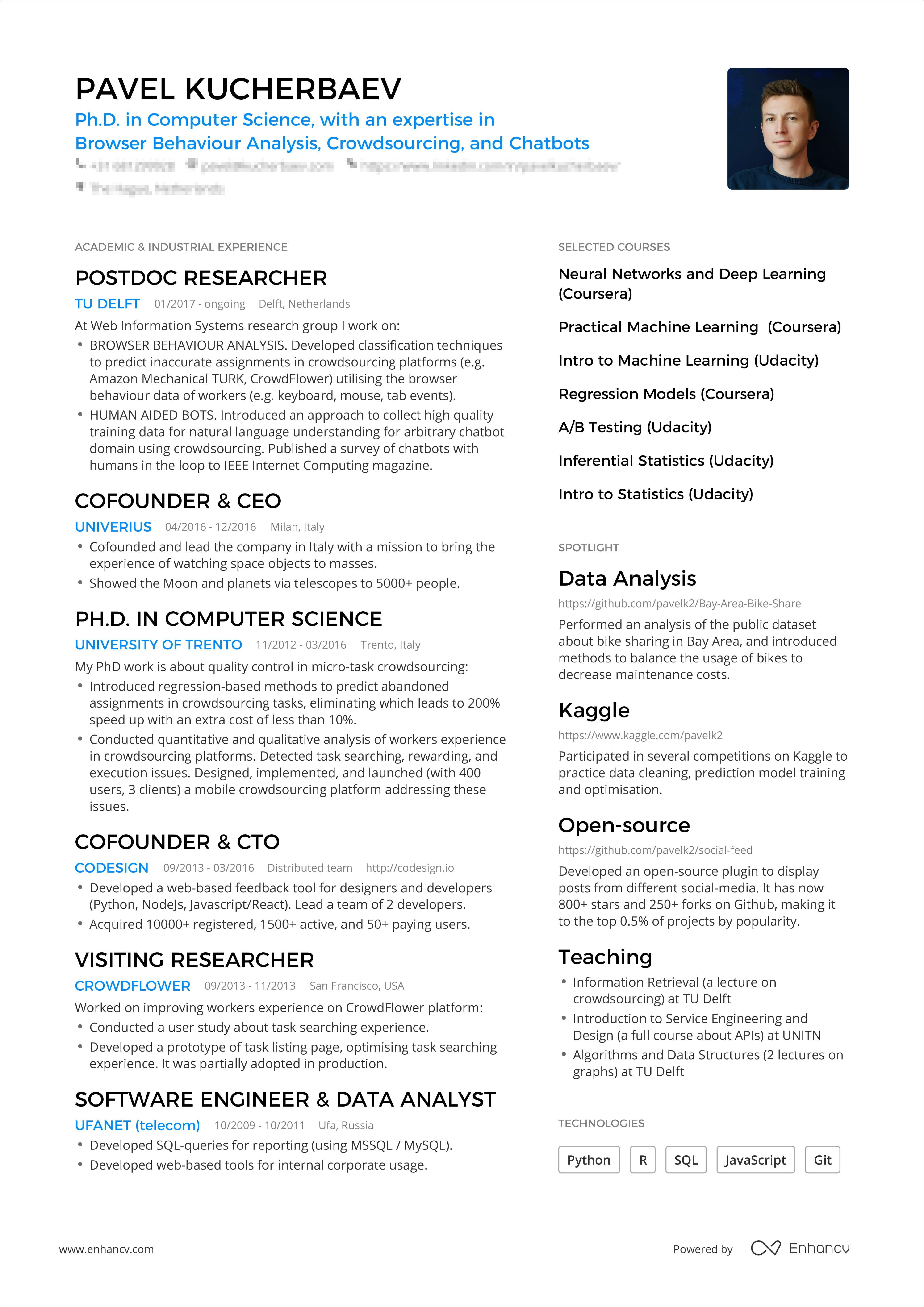 Example Of One Page Resume  vvengelbertnl