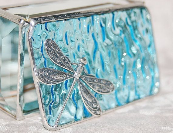 Stained Glass Jewelry Box Sky Blue 2x3 w Floral Stamped Dragonfly